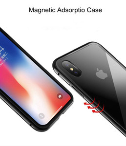 Magnetische Adsorption Metall Telefon Fall für iPhone Xs Max Xr Full Coverage gehärtetes Glas Rückseite Telefon Cover Case Iphone Shell Magnetic
