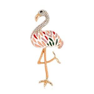 Симпатичный мультфильм Flamingo броши Эмаль сплава металла Кристалл птица Животное Брошь Pin для женщин девушки фраке Брошь ювелирные изделия