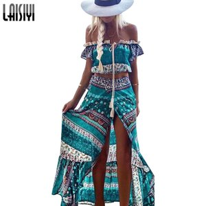 Laisiyi Bohemian Two Piece Set spalla Sexy crop top a vita alta gonna lunga Vintage Boho Women Suit Top e gonna Assu20033 Y19042901