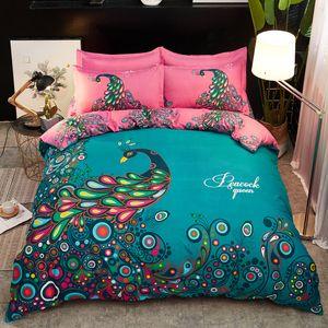 Pavões Pássaro cama Set Blooming Flower edredon cobrir Bed Folha de 4pcs borboleta rosa Home Textiles Bedclothes para meninas Adultos