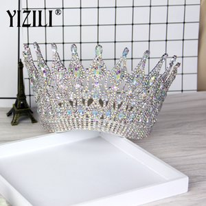 Yizili New Luxury Big European Bride Gorgeous Crystal Large Round Queen Crown Wedding Hair Accessories C021 C19041601