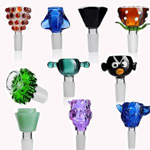 Cor aleatória colorida Bacia de vidro de 14 milímetros Masculino Glass Bowl Acessórios fumar para narguilé Bong Em armazém