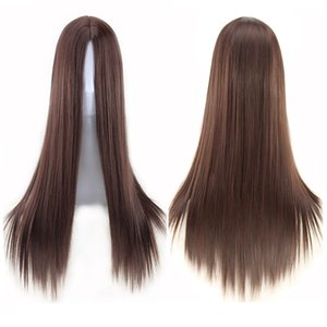 alta calidad africana humana pelo largo peluca llena del cordón real de pelo liso euro americano tendencia sintética peluca de pelo liso venta