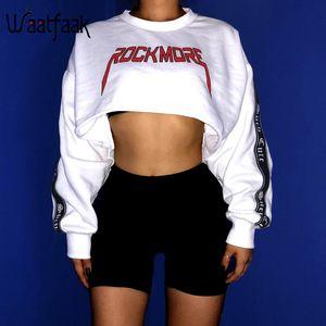 Waatfaak Aufmaß Crop Hoodies Sweatshirt Frauen PulloverHoodies Cotton White Long Sleeve Top Patchwork-Stickerei-Sweatshirt