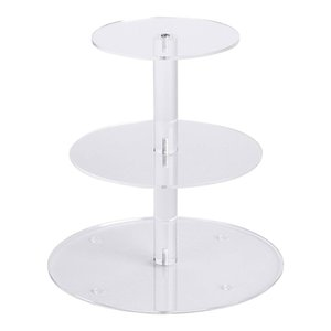 3 Nivel de vidrio acrílico Ronda Magdalena soporte de exhibición Soporte del postre, pastelería plato de servir, soporte de la torta, Molde de papel perfecto para una