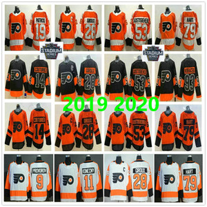 2019 Stadium Series Flyers de Philadelphie Claude Giroux Shayne Gostisbehere Travis Konecny Provorov Jakub Voracek Carter Hart Hockey Maillots