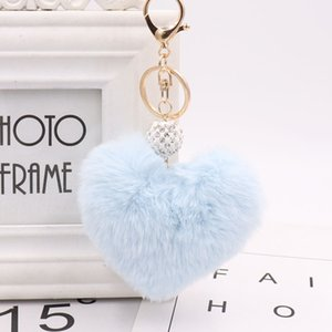 Solid Color Imitate Rabbit Fur Ball Keychain Car Keychain Handbag Key Ring keychain ring female 2020 new fashion jewelry
