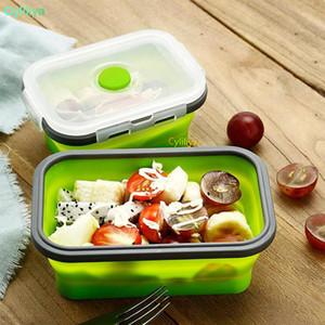 6 ألوان Floding الغداء صناديق الغذاء الصف سيليكون الغذاء حاويات التخزين المحمولة طالب بينتو مربع 350ML / 500ML / 800ml / 1200ml 20PCS