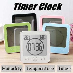 Impermeabile LCD Orologio da parete digitale Misuratore di umidità della temperatura Bagno Doccia Aspirazione della parete Conto alla rovescia Cucina Bagno Timer Allarme