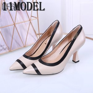 19ss size 35-41 luxurious top leather women pumps new fashion sexy pointed toe shallow shoe woman high heels party shoes black red brown
