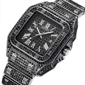 Schwarz / Gold / Silber-voller Diamant Iced Out-Mann-Uhren Automatik Datum Platz Luxusdesigner Herren Geschäft Armbanduhr Uhren de hombre