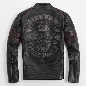 남자 블랙 자전거 해골 자수 가죽 오토바이 자켓 진짜 두꺼운 쇠가죽 채찍 슬림 피트 러시안 가죽 코트 FREE SHIPPING Plus Size XXXXL