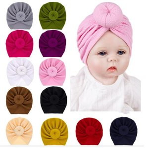 Cute Infant Ball Knot Turban Caps Donut Baby Hat beanies Multi color headband For Spring Summer