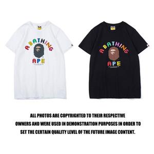 Toptan% 100 pamuk tasarımcı lüks polo t shirt kısa USA ayı desen baskı ile rahat gevşek tişörtleri manşonlu