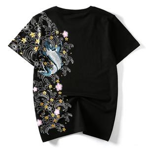 Hzijue männer t shirts stickerei fisch top marke clothing chinesisch japanischen stil t-shirts für mann tees streetwear baumwolle plus größe sh190703