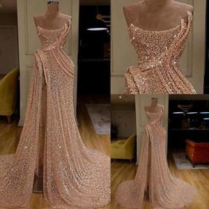 2020 Rose sexy côté haut de Split dentelle longue robes de bal sans bretelles ligne Robes de soirée Robes de fiesta BC2985
