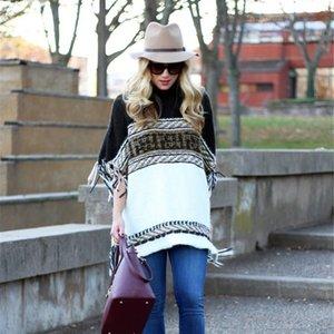 O-Ansatz Mantel Pullover Stripe Farbe Quaste Pullover Flügel-Hülsen-Strickmantel Tops Pullover