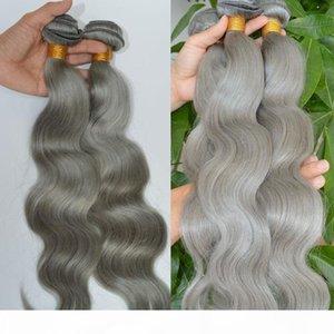 Silver Grey Hair Bundles Body Wave Virgin Brazilian Hair Wefts Extensions Gray Human Hair Weaving Wefts