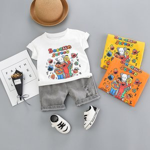 Summer 2020 kids baby clothes casual cartoon printed short-sleeved T-shirt and pants 2 piece toddler boys clothing sets
