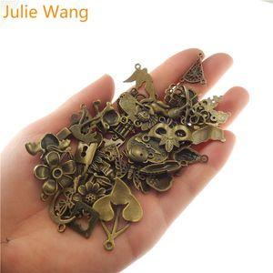 Julie Wang 100g / pack Styles misturado aleatoriamente Encantos Antique Bronze pequeno para colar de pingentes de jóias pulseira Fazendo Acessórios