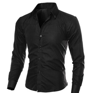 Mens Primavera Outono manga comprida formais camisas Sólidos Magro Básico Turn Down Collar negócio masculino camisas