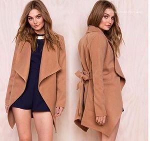Solid Slim Fit Designer Autumn Winter Coats Outerwear Women Wool Blends
