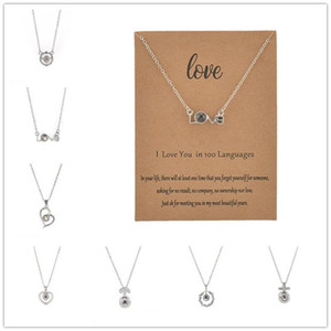 Projection 100 Languages I Love You Necklace For Women Love Memory CZ Silver Pendant Choker Necklace Wedding Party Gift for Lover