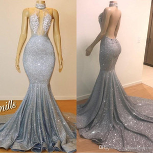 2020 Glitter Sirena Dress Prom Dresses Gioiello Neck Branelli Crystals Backless Vedi attraverso la lunghezza del pavimento Partito serale indossare personalizzato BC0679