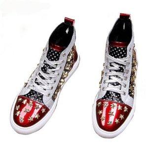 Мужчины Марка дизайнер заклепки американский флаг обувь причинно квартиры мокасины 2019 мужской Высокий Верх рок хип-хоп смешанные цвета обувь для человека
