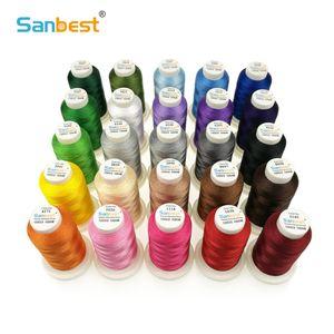 Sanbest Qualitäts-24 Farben Polyester Stickgarn Fliament 120D / 2 1000M Bruder Singer Maschine Nähgarn TH00027