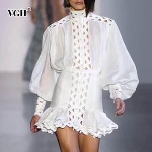 Vgh verano de las mujeres Streetwear hueco vestido de la ropa de moda fuera del soporte de una línea de manga farol perspectiva Delgado Hem Mujeres 2019 Nueva Y190417