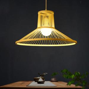 Modern avize sanayi retro bambu lamba showroom odası restoran yaratıcı kişilik E27 avize Japon LED ışıkları