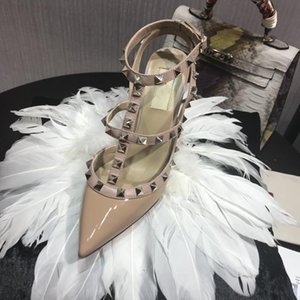 2019 Designer women high heels party fashion rivets girls sexy pointed shoes Dance shoes wedding shoes Double straps sandals