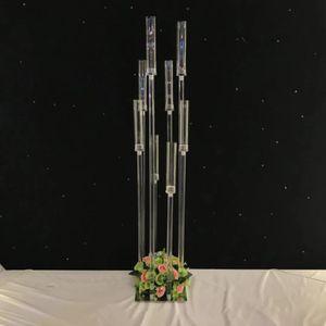 8 kafaları / 10 kafaları) Yol Mum Akrilik Kristal Mumluk Satış senyu0333 için Altın Gümüş Çiçek Vazo Düğün Centrepiece Standı Kurşun