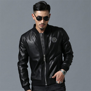 Men High Street Style Stand-Neck Sudaderas Hombre Rib Sleeve Streetwear Mens Jackets and Coats Skull Rhinestones PU Jackets