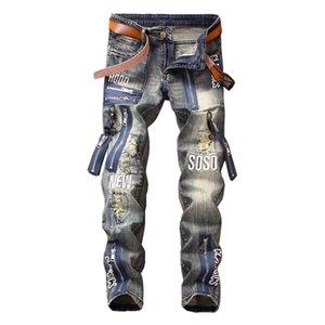 Mcikkny Moda Erkek Hip Hop Erkek Harf işlemeli İçin Kot Pantolon Çok Fermuar Patchwork Denim pantolonlar Ripped