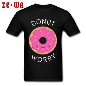 Geek En T-Shirt Kawaii Donut Endişe T Gömlek Erkekler Hip Hop Tees 2018 Yeni Erkek Severler Günü Gömlek Yuvarlak Boyun% 100% Pamuklu Giysiler
