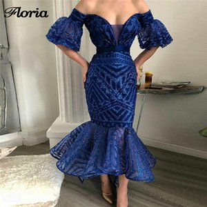 New Aibye Muslim Shiny Blue Prom Dresses For Weddings Turkish Evening Dress Robe de soiree Arabic Off the Shoulder Pageant Gowns