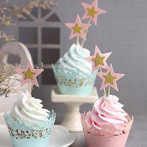 10PCS / Lot 반짝임 리틀 별 컵케익 Toppers 어린이 생일 파티 장식 행사 이벤트 파티 용품 컵케익 Toppers