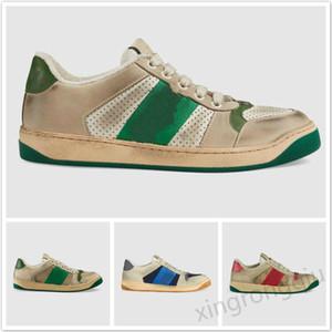 Lüks Perdeleyici Kadın Sneaker Klasik Sıkıntılı Kirli Eğitmenler Tasarımcı Lace Up Tuval Kesilen Deri Ayakkabı Casual Ayakkabı Erkek