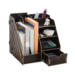 Criativo DIY escritório arquivo do desktop Organizer Bookshelf A4 Gaveta Pasta Shelf Tray Desk Organizer Preto
