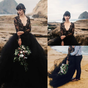 New Sexy Beach Black Wedding Dress Deep V Neck Illusion Long Sleeves Lace Top Tulle Skirt Gothic Backless Wedding Bridal Gowns withTrain