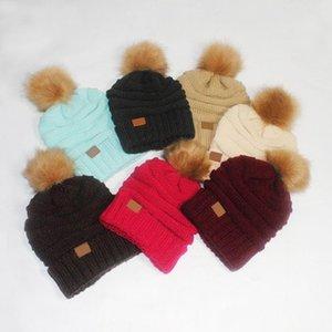 pompom Mulheres malha Beanie Thicken inverno quente chapéus para Cap Inverno Mulheres Gorros Ladies demountable pompom 15 cores KKA7582