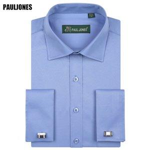 5XL manches longues hommes d'affaires français Cuff Shirt Coupe droite solide formelle Robes sociale Marque Chine Imported Vêtements CX200629 Paul Jones