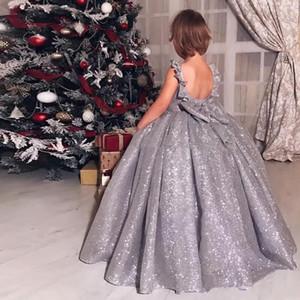 2019 Sparkly Silber Sequin-Ballkleid-Mädchen-Festzug-Kleid mit rückseitigem Bogen bodenlangen Kindern Formal Flower Girl-Kleider