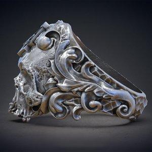Monili classici dell'anello del motociclista degli uomini della testa del cranio del cranio dell'acciaio inossidabile 316L del cranio classico 316L misura degli Stati Uniti 7-14