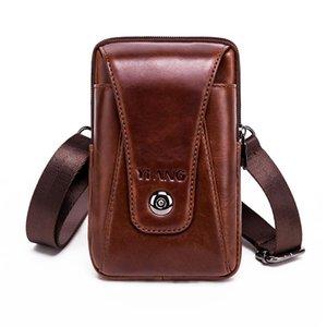 Designer-Genuine Leather Mini cinghia della spalla vita del pacchetto del messaggero degli uomini marsupio Bum borsa delle cellule / telefono mobile caso della copertura per l'iPone