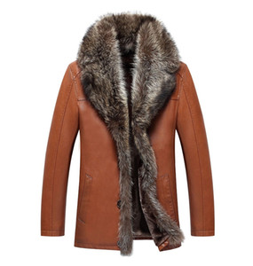Mens Leather Jacket Winter Fur Coats Raccoon Fur Collar Snow Tops Thicken Warm Outerwear Overcoat Windbreaker Waterproof 2019 Luxury