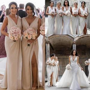 2020 Cheap New Vintage Sexy Dividir V Neck Vestidos dama de honra para casamentos mangas Dividir o chão Plus Size Formal dama de honra Vestidos