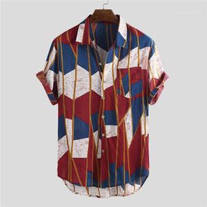 Moda Kısa Sleeve Gevşek Beach Tatil Stil Erkek Gömlek Erkek Baskılı Cep Casual Gömlek Yaz